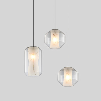 LukLoy LED Modern Pendant Lights Nordic Imitation Marble Glass Texture Living Room Loft Ins Clothing Glass Hanging Lamp Retro