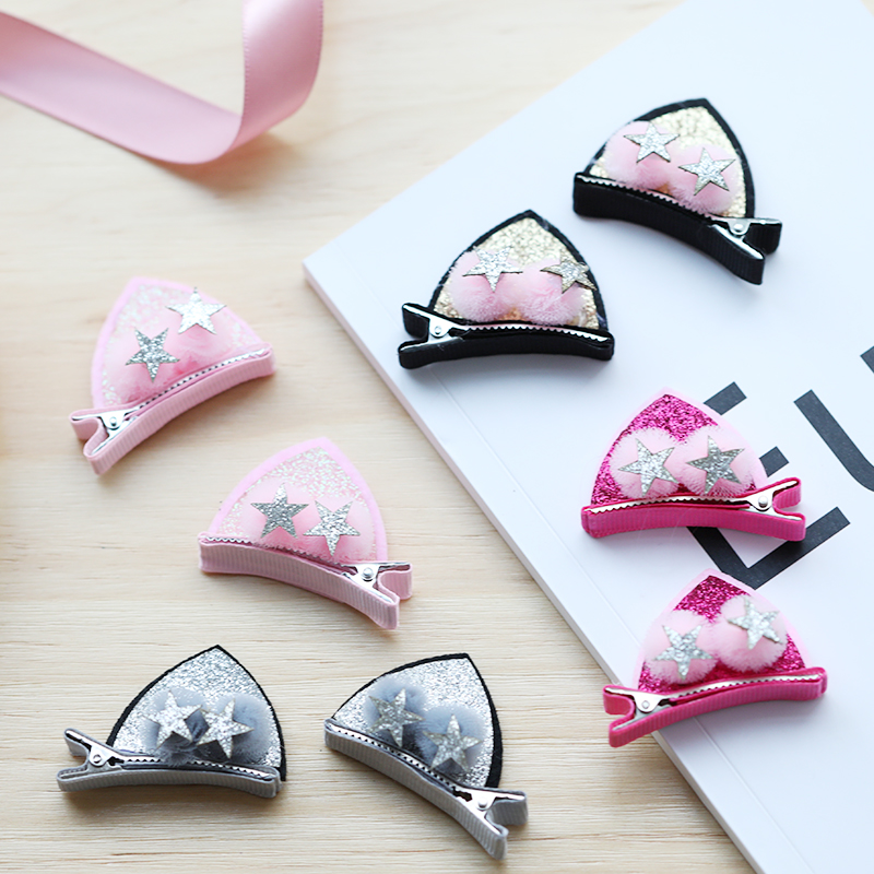 New 2PCS/Set Cute Glitter Cat Ears Hairball Cartoon Hairpins For Girls Lovely Barrettes Headbands   Headwear   Kids Hair Accessories
