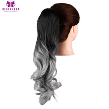 Neverland 20″ 50cm Silver Grey Wavy Claw Ponytail Synthetic Hairpiece Heat Resistant Pony Tail Hair Extensions for Women