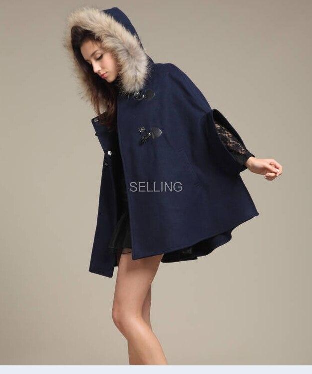 Осень зима корейское женское Шерстяное пончо пальто воротник из натурального меха шерстяное пальто размера плюс Свободное пальто