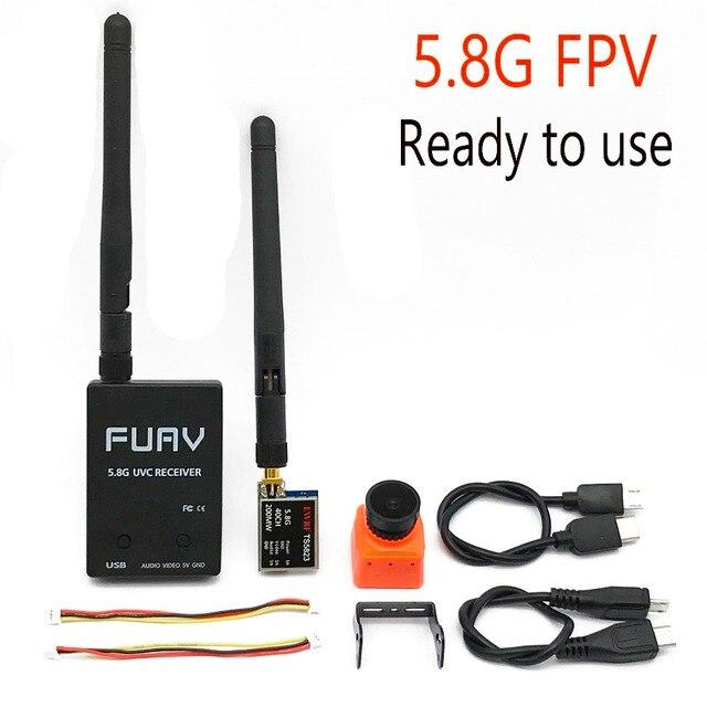 사용 준비 5.8G FPV 수신기 UVC 비디오 다운 링크 OTG VR 안드로이드 전화 + 5.8G 200/600mw 송신기 TS5823 + CMOS 1200TVL 카메라 fpv