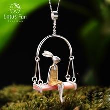 Женский кулон «Мисс Кролик» Lotus Fun, изящный кулон без цепочки ручного изготовления из настоящего серебра 925 пробы с натуральной морской ракушкой на Рождество