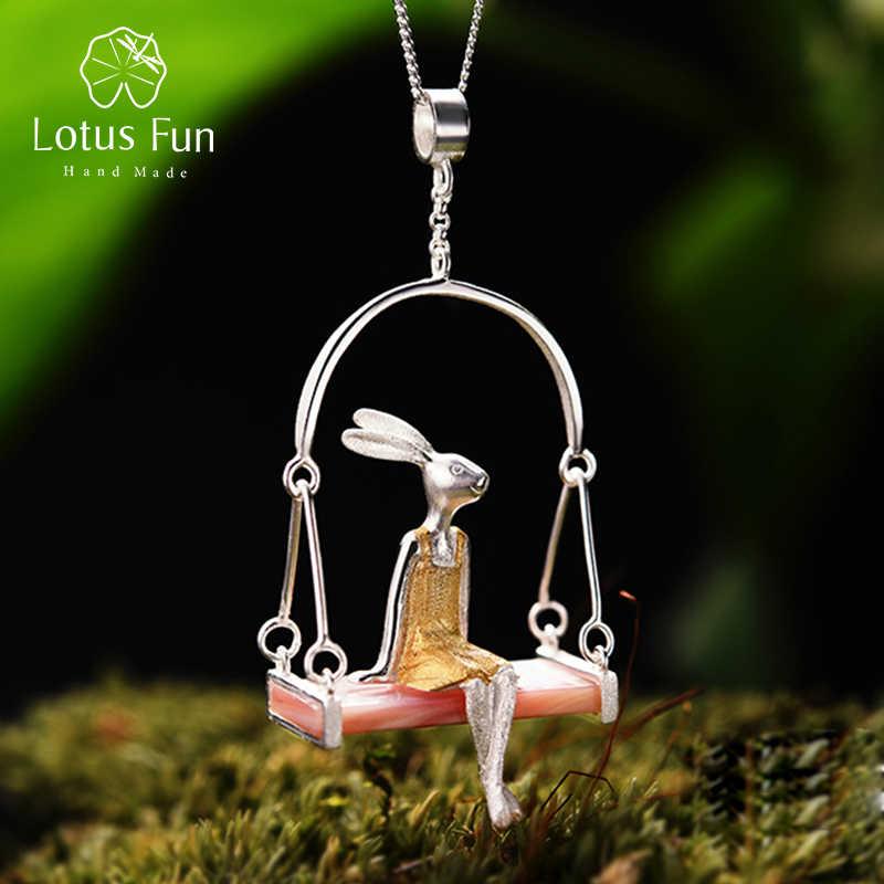 Lotus Vui Thật Nữ Bạc 925 Biển Tự Nhiên Vỏ Handmade Mỹ Trang Sức Sáng Tạo Cô Thỏ Mặt Dây Chuyền Mà Không Dây Chuyền Acessorios