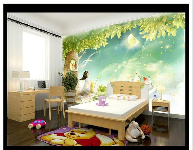 Custom wallpapers 3d murals wallpaper Cartoon romantic beautiful green tree gouache children's room background wall papers