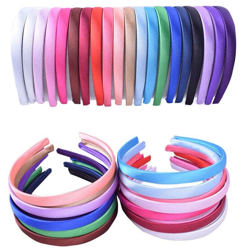Lovely Plain Satin Headband Elastic Hair Bands For Kids Girls 1.5CM DIY Headband Hoop Hair Bezel Accessories For Women   Headwear