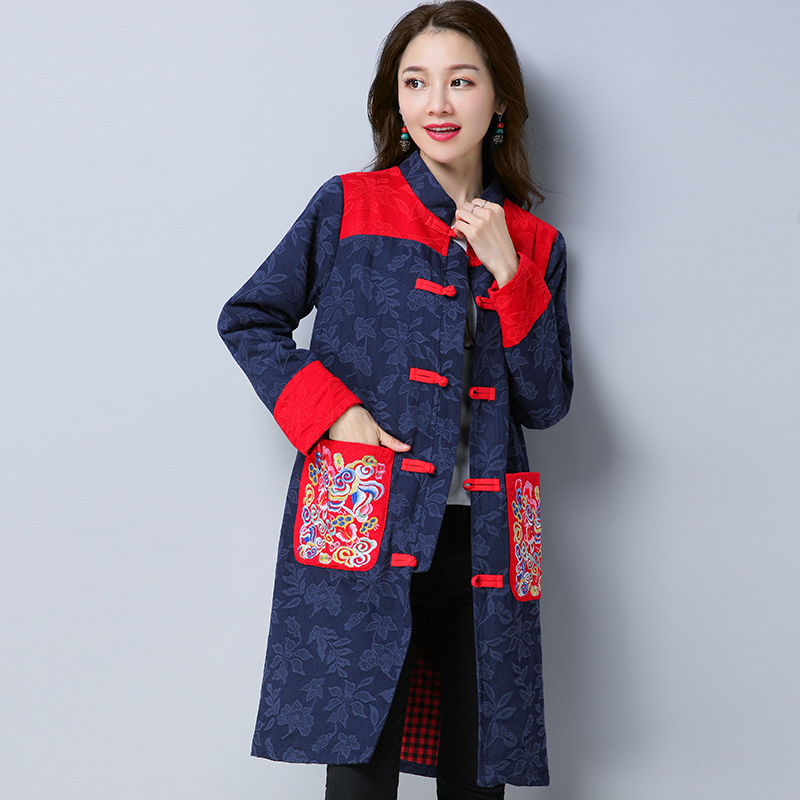 5a598a15d7f 2017 New Winter Ethnic Style Vintage Midi Coat Women Casual Vintage  Patchwork Windbreaker Stand Collar Coats -in Trench from Women s Clothing  on ...