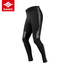 Santic Men Cycling Long Padded Pants Winter 4D Cushion Pad Reflective Thermal Pants Keep Warm Bike Tights  Asian M-3XL santic autumn winter cycling pants windproof warm mtb bike pants 4d padded bicycle long pants tights for men s 3xl cuissard velo