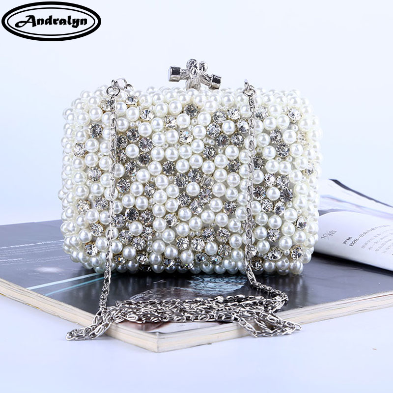 Andralyn Beading Wedding Ladies' Evening Bag Rhinestones Luxurious Handmade Style Women Day Clutches Pearl Diamonds Dinner Bag equte xpew25c1 women s elegant luxurious pearl style rhinestones brooch white