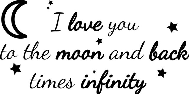 I Love You To The Moon Bold Decor Vinyl Wall Decal Quote Sticker