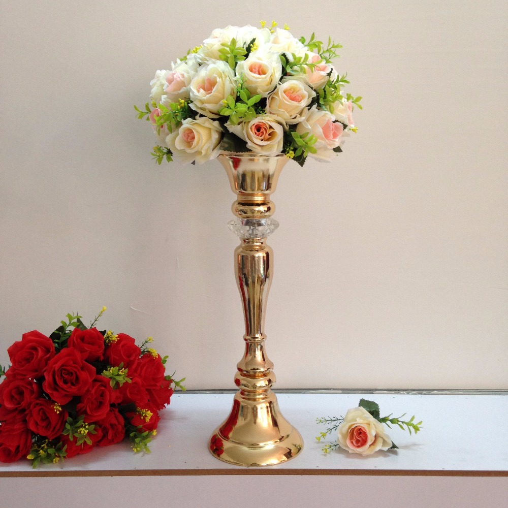 new style 48cm 18 9 gold wedding flower vase wedding table centerpiece table stand wedding decoration