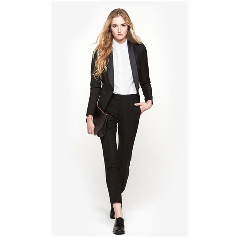 Black Womens Business Suits 2 Piece Formal Pant For Weddings Tuxedo Female Office Uniform Las Winter