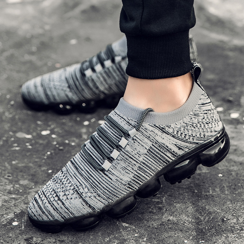 GOODRSSON Casual Shoes Men Full Air Cushion Colorful Sole Flying Woven Sneakers Lightweight Lace Up Outdoor Casual Sport Sneaker