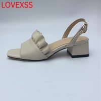 LOVEXSS Retro Simple Temperament Style Fashion Fleck Open Toe Sandals Leather Word Buckle Square Thick Heel