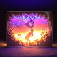 Дизайн 3D Бумага украшения Симпатичные Русалка огни подарки на день рождения пары дает дома гобелены DIY Настольная лампа вечеринок