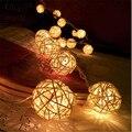 1.5 M LEVOU Lanternas De Fadas Rattan 10 Bolas de Luz LED Corda Decoração Do Casamento Ao Ar Livre