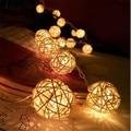 1.5M LED Rattan 10 Balls LED String Light Fairy Lanterns Wedding Outdoor Decor