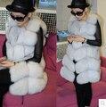 100% Natural Fox fur Vests For Women, Ladies real fox fur vest gilet , autumn winter outerwear