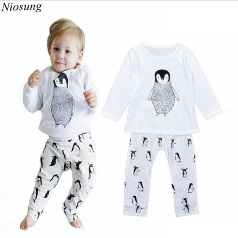 f645e057b Niosung 1 مجموعة الرضع طفل الفتيان الكرتون patternlong كم قميص + بنطلون  منامة طفل ملابس الاطفال الوليد الملابس دعوى s