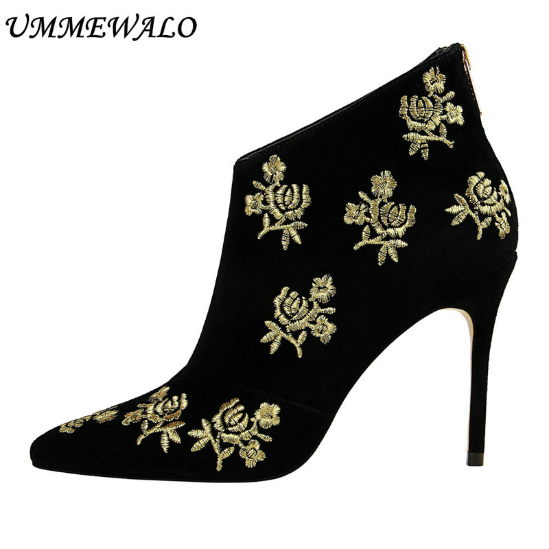 UMMEWALO Ankle Length Flock Boots Women Fashion Pointed Toe High Heel Shoes Winter Ankle Boots Embroider