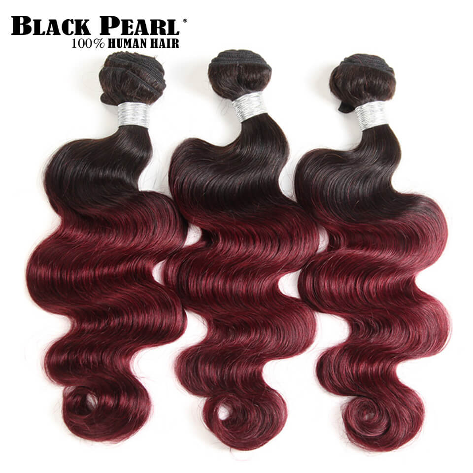 Black Pearl Pre-Colored Ombre Hair Weave Bundles Brazlilian Body Wave 3 Bundles Ombre Wine Red Human Hair Extensions T1b99j