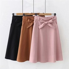 Elegant Women Skirt High Waist Pleated Knee Length Skirt Vintage A Line Big Bow Skirts