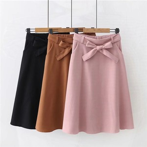 Image 1 - Elegant Women Skirt High Waist Pleated Knee Length Skirt Vintage A Line Big Bow Skirts