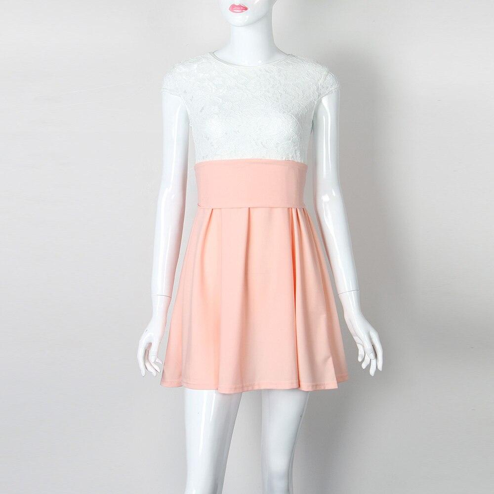 Encaje Kawaii playa verano mujeres 2018 Flare vestidos Mini una ...