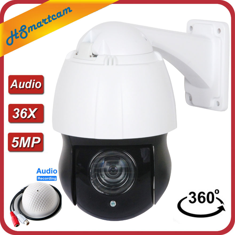 4MP IP PTZ Camera HD 1080P Speed Onvif IR Dome Outdoor PoE Night Vision Audio