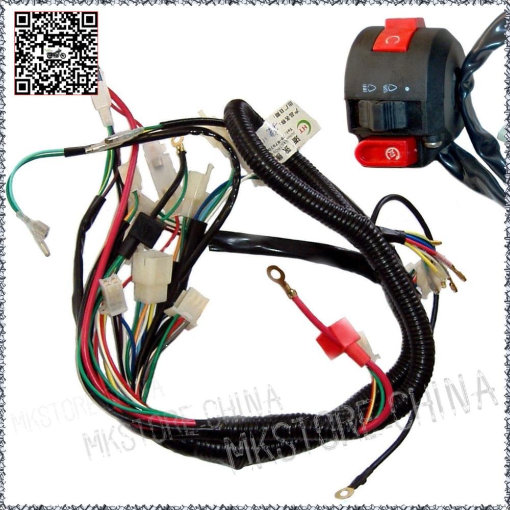 110cc+Switch QUAD ELECTRICS Zongshen Lifan Ducar Razor CDI COIL WIRE HARNESS  Free shipping
