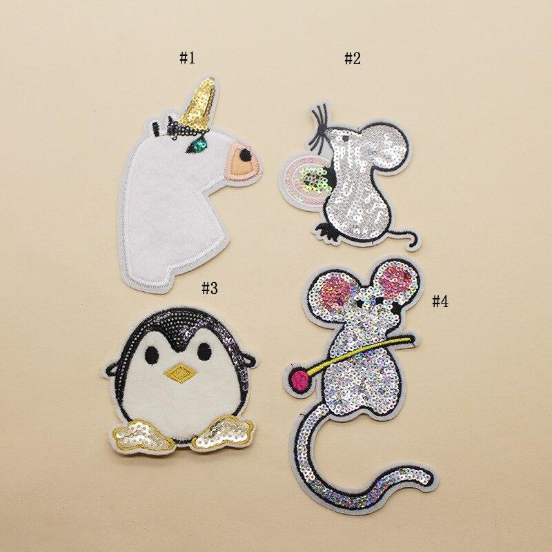 30pcs/lot Cute Mouse Animal Sequins Embroidery Patch Fluffy Penguin Unicorn Cloth Sticker Wholesale Sequin Applique for Clothes