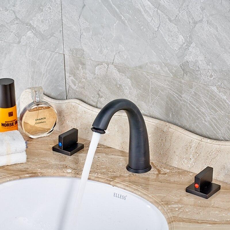 Oil Rubbed Bronze Bathroom Basin Faucet Dual Handles Sink Mixer Tap Tub Faucet wholesale and retail modern oil rubbed bronze bathroom basin faucet teapot vanity sink mixer tap countertop mixer tap