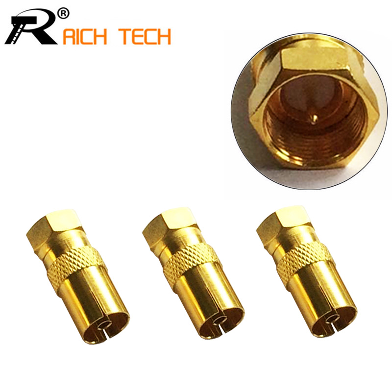 3pcs/lot Gold plated F CONNECTOR MALE TO PAL FEMALE JACK STRAIGHT RF COAXIAL ADAPTER GOOD FOR F NEW TV-TYPE CONNECTOR tejinder pal singh rf mems a technological aspect