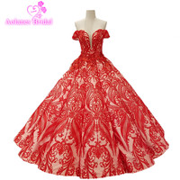 AOLANES 2018 New Red Lace Sleeveless Wedding Dresses Sweetheart Floor Length Backless Ball Gown Princess Bridal