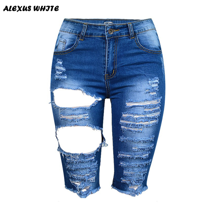 31c8eb4df9 LASPERAL New Women Holes Ripped Distressed Slim Jeans Ladies 2018 New  Fashion Summer High Waist Knee-length Denim Pants Trousers
