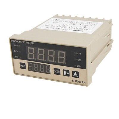 DC 500V Red 4 Digit Panel Meter Voltmeter w Upper Low Alarm Value Indicator