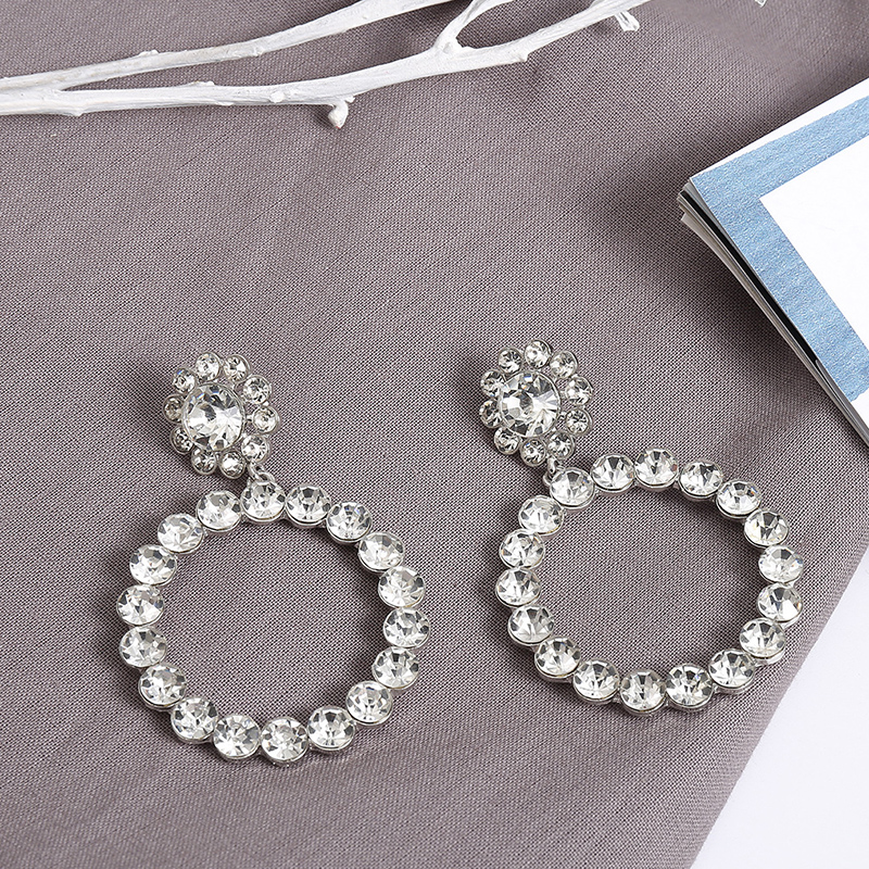 HTB13VGqatfvK1RjSszhq6AcGFXa0 - AENSOA Trendy Crystal Round Pendant Drop Earrings For Women Fashion Pearl Charm Statement Jewelry Wedding Earrings Female