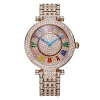 Davena Lady Wrist Crystal Watch Women's Rotate Hours Top Fashion Dress Bracelet Luxury Rhinestones Bling Girl Birthday Gift