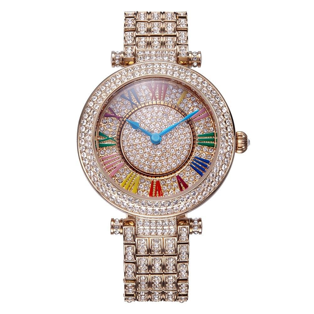 ad922e27af20 Davena señora reloj cristalino de las mujeres girar horas Top moda vestido  pulsera lujo rhinestones Bling niña regalo de cumpleaños