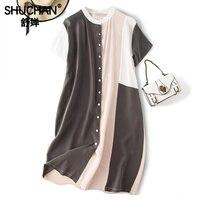 Shuchan высокое качество натуральный шелк Новинка 2019 модные летние платья женские с коротким рукавом ropa mujer корейские модные платья A0928