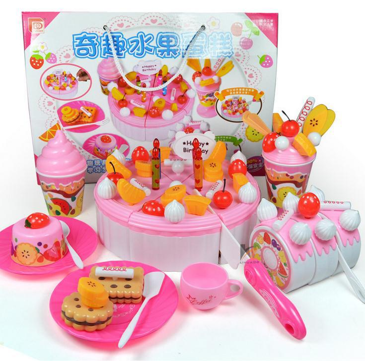 Interesting puzzle toy play house fruit cake DIY birthday cake two kinds of tastes,free shipping