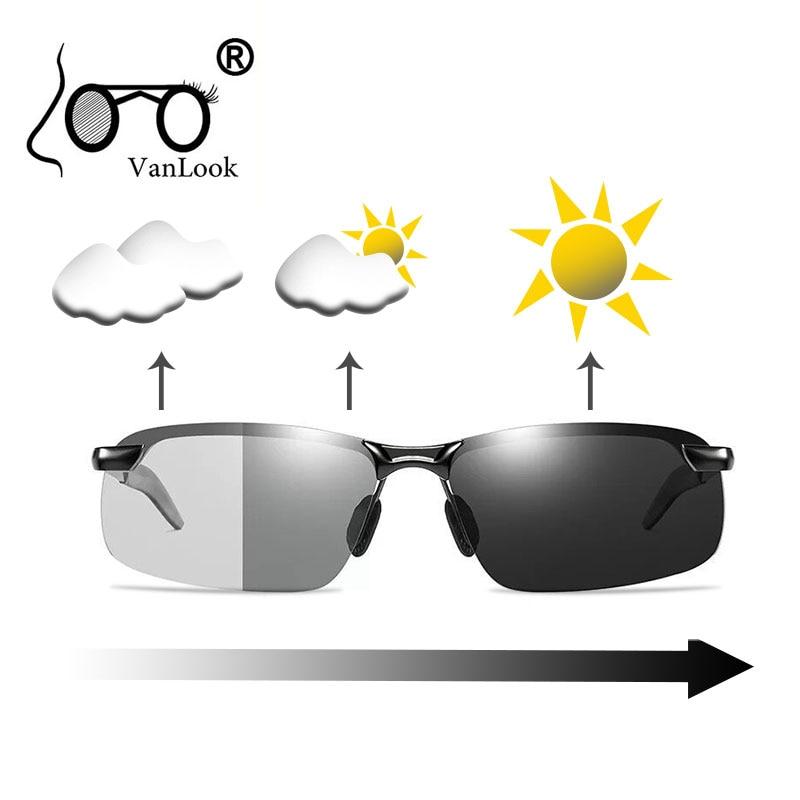 Photochromic Sunglasses Polarized Chameleon Lens Yellow Mens Sun Glasses for Night Driving Fishing Polaroid Fashion Men Rimless
