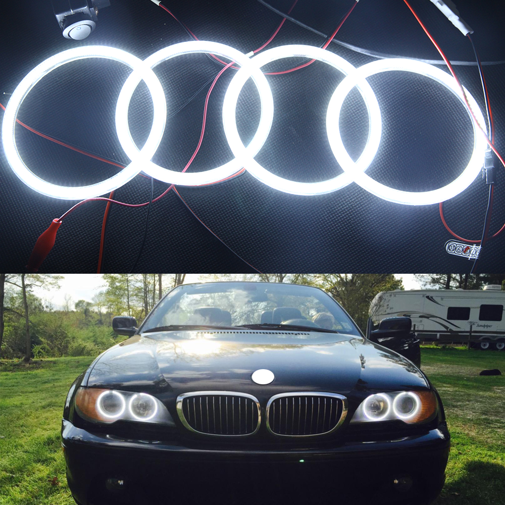 Special fit for BMW Angel Eye Halo Light 3014SMD led ring for E46 3 Series White 2D 2 Door Coupe 2DR Facelift led rings white 3014 smd led angel eyes headlight halo ring marker 131mm 145mm for bmw e46 non projector