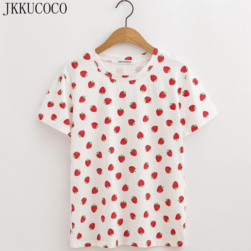 JKKUCOCO Strawberry Print Casual   T  -  shirt   Short Sleeve O-neck Summer tee Women Tops 100% Cotton   t     shirt   Women   t     shirt   2018 New