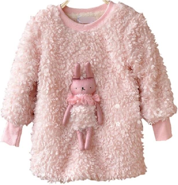 2016 Autumn Winter  New Arrival Thicken Cute Rabbit Decoration Sweater Girls Sweatshirt Moleton Meninas Sudaderas Minos KF506