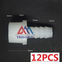 12 Pieces 12mm G3 4 Straight Connector Plastic Pipe Fitting Barbed With Thread Material PE Joiner