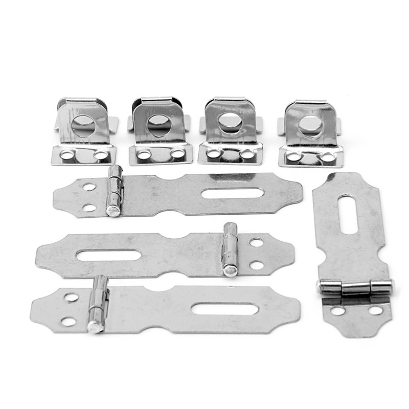 4Pcs Home Drawer Door Safety Padlock Latch Hasp Staple Stainless Steel NO.5 2pcs brand new 6 length stainless steel barrel door bolt latches premium safety latch padbolt padlock k202