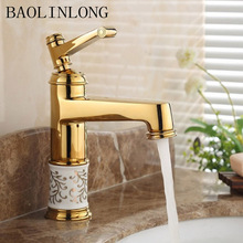 Gold Brass Basin Bathroom Faucet Tap Vanity Vessel Sinks Bath Mixer Faucets