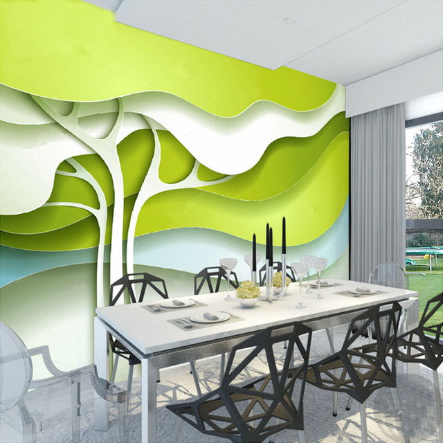 Custom Any Size 3D Photo Wallpaper Modern Design Green ...