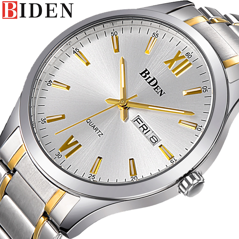 BIDEN Classic Business Casual Watch Men 's Stainless Steel Quartz Watches Man Fashion Wristwatch relogio masculino-0032