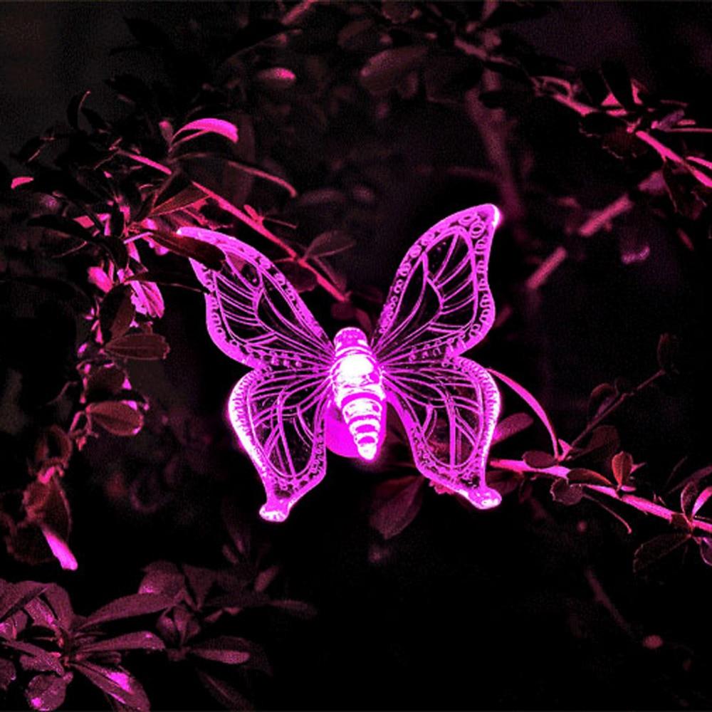 Butterfly lawn ornaments - 7 Color Led Solar Light Lamp Cute Shape Butterfly Dragonfly Bird Design Garden Lawn Landscape Ornament